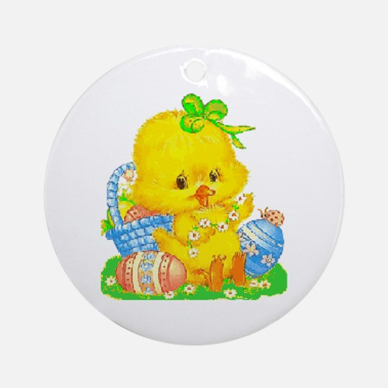 Vintage Cute Easter Duckling And Round Ornament