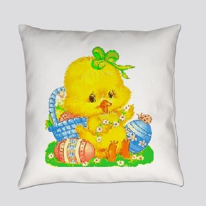 Vintage Cute Easter Duckling And Everyday Pillow