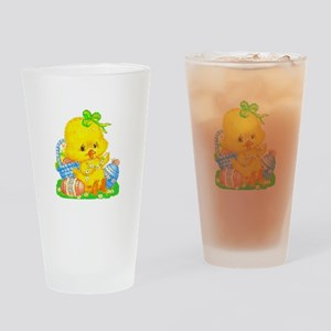 Vintage Cute Easter Duckling And Drinking Glass