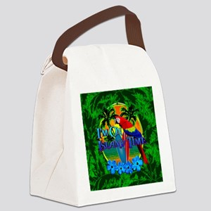 Island Time Surfing Palm Trees Canvas Lunch Bag