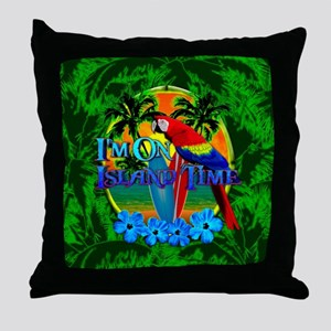 Island Time Surfing Palm Trees Throw Pillow