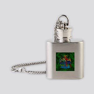 Island Time Surfing Palm Trees Flask Necklace