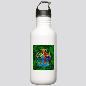 Island Time Surfing Palm Trees Water Bottle