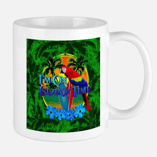 Island Time Surfing Palm Trees Mugs