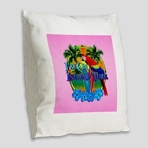 Pink Island Time Sunset Burlap Throw Pillow
