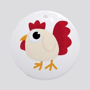 Funny White Chicken Round Ornament