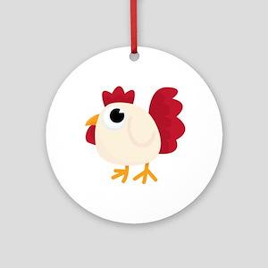 Funny White Chicken Round Ornament