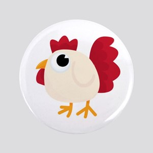 Funny White Chicken Button