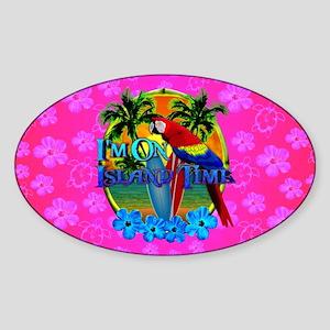 Pink Hibiscus Island Time Sunset Sticker