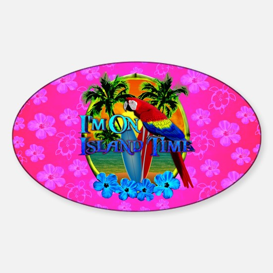 Pink Hibiscus Island Time Sunset Decal