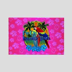 Pink Hibiscus Island Time Sunset Magnets