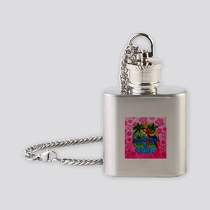Pink Hibiscus Island Time Sunset Flask Necklace