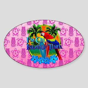 Pink Tiki Island Time Sunset Sticker