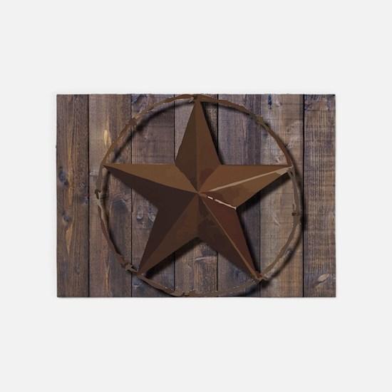 western barnwood texas star 5'x7'Area Rug