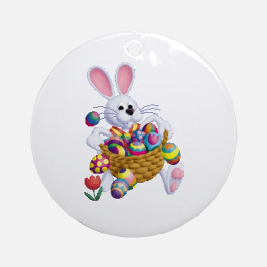 Easter Bunny With Basket Of Eggs Round Ornament