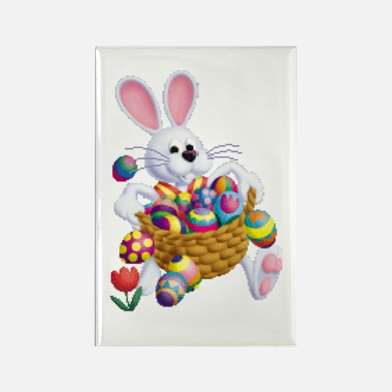 Easter Bunny With Basket Of Eggs Magnets