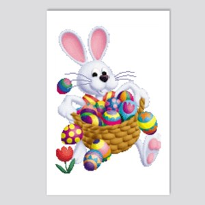 Easter Bunny With Basket Postcards (package Of 8)