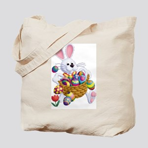 Easter Bunny With Basket Of Eggs Tote Bag
