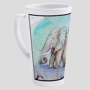 Elephant! Wildlife art! 17 oz Latte Mug