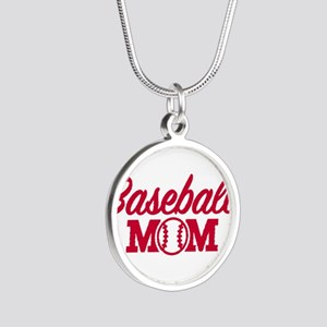 Baseball mom Silver Round Necklace
