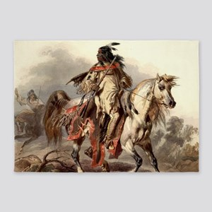 Blackfoot Native American Warrior 5'x7'Area Rug