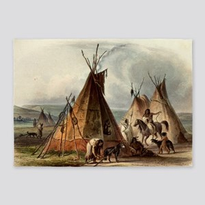 Assiniboin teepee Native Skin Lodge 5'x7'Area Rug