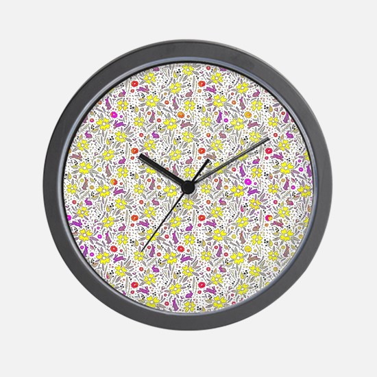 Flowers and bunnies Wall Clock