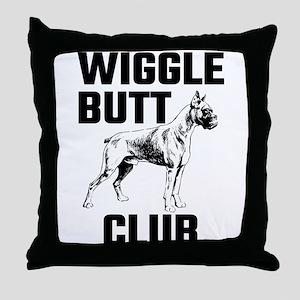Boxer Wiggle Butt Club Throw Pillow