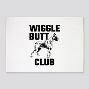 Boxer Wiggle Butt Club 5'x7'Area Rug