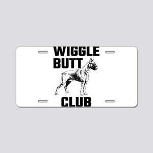 Boxer Wiggle Butt Club Aluminum License Plate