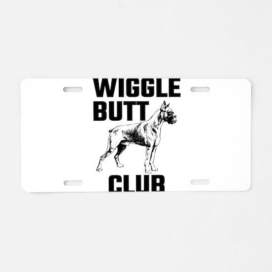 Boxer Wiggle Butt Club Aluminum License Plate