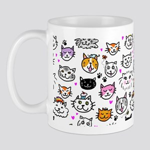 Whimsical Cat Faces Pattern 11 oz Ceramic Mug