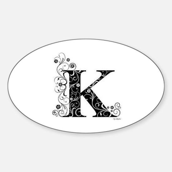Cute Letter k Sticker (Oval)