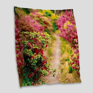 Footpath with azaleas Burlap Throw Pillow