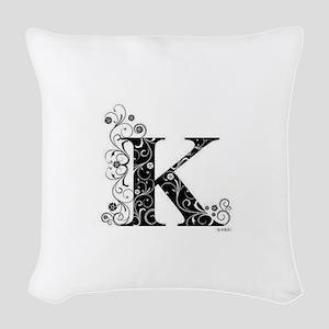 K border Woven Throw Pillow