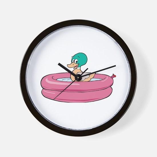 Duck Wading in Kiddie Pool Wall Clock