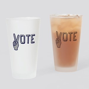 Vote with Peace Sign as the letter Drinking Glass