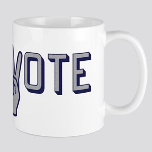 Vote with Peace Sign as the letter V Mugs