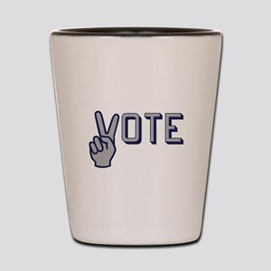 Vote with Peace Sign as the letter V Shot Glass
