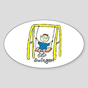 Swinger Swing Set! Oval Sticker