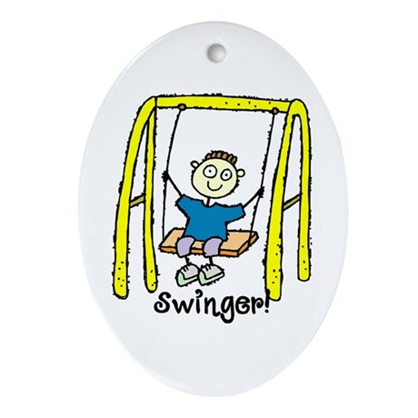 Swinger Swing Set! Oval Ornament