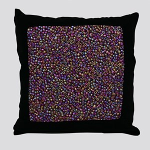 Purple Rainbow Rocaille Seed Beads Throw Pillow