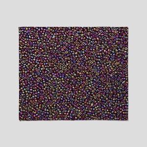 Purple Rainbow Rocaille Seed Beads Throw Blanket