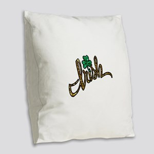 irish clover shamrock Burlap Throw Pillow