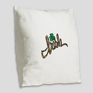 irish clover shamrock Burlap Throw Pillow