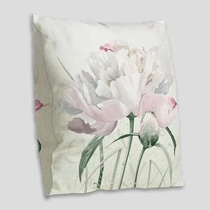 Beautiful Peony Burlap Throw Pillow