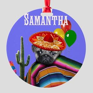 Mexican Birthday pug dog Ornament