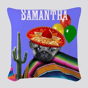Mexican Birthday pug dog Woven Throw Pillow