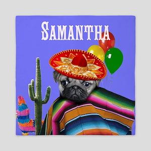 Mexican Birthday pug dog Queen Duvet
