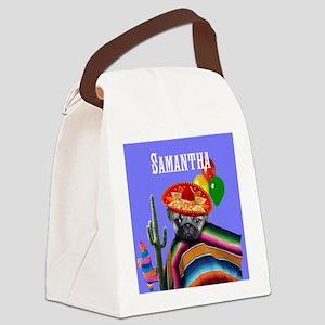 Mexican Birthday pug dog Canvas Lunch Bag